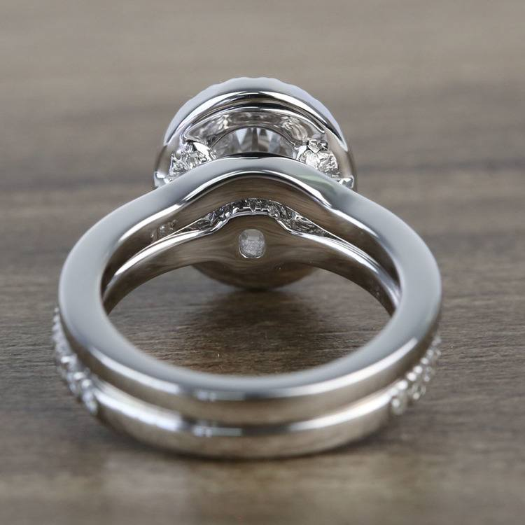1 Carat Oval Petite Pave Halo Diamond Engagement Ring & Matching Band angle 4