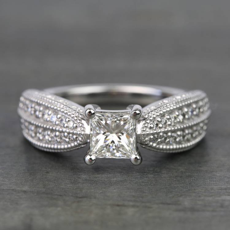 1 Carat Princess Diamond Custom Engagement Ring