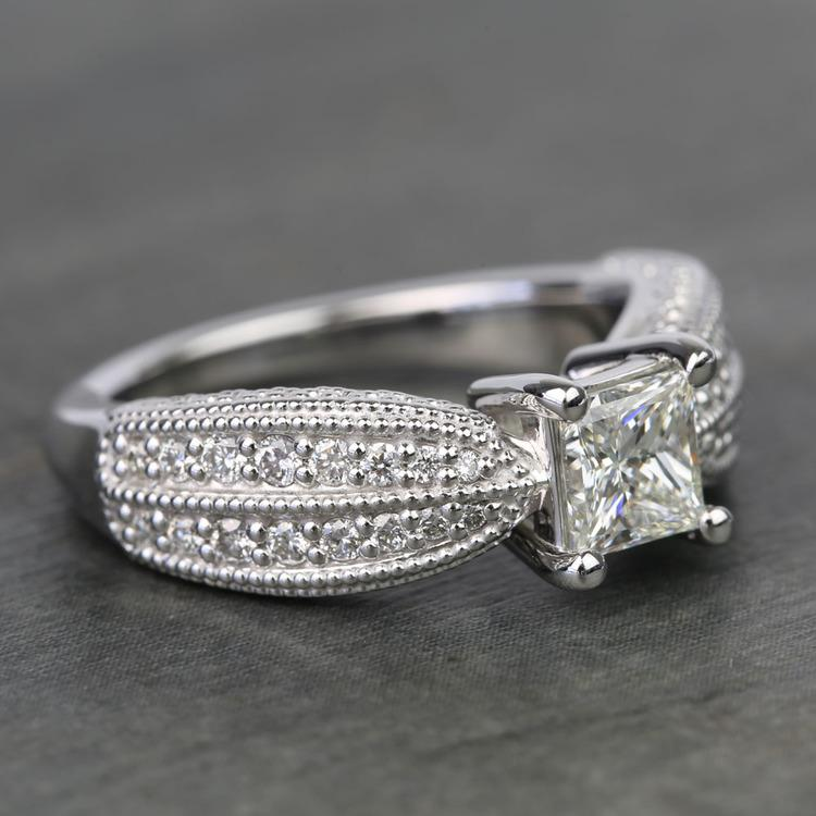 1 Carat Princess Diamond Custom Engagement Ring angle 3
