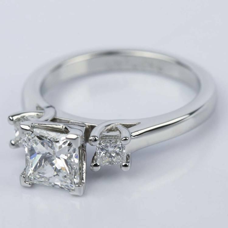 1 Carat Princess Three-Diamond Engagement Ring angle 2