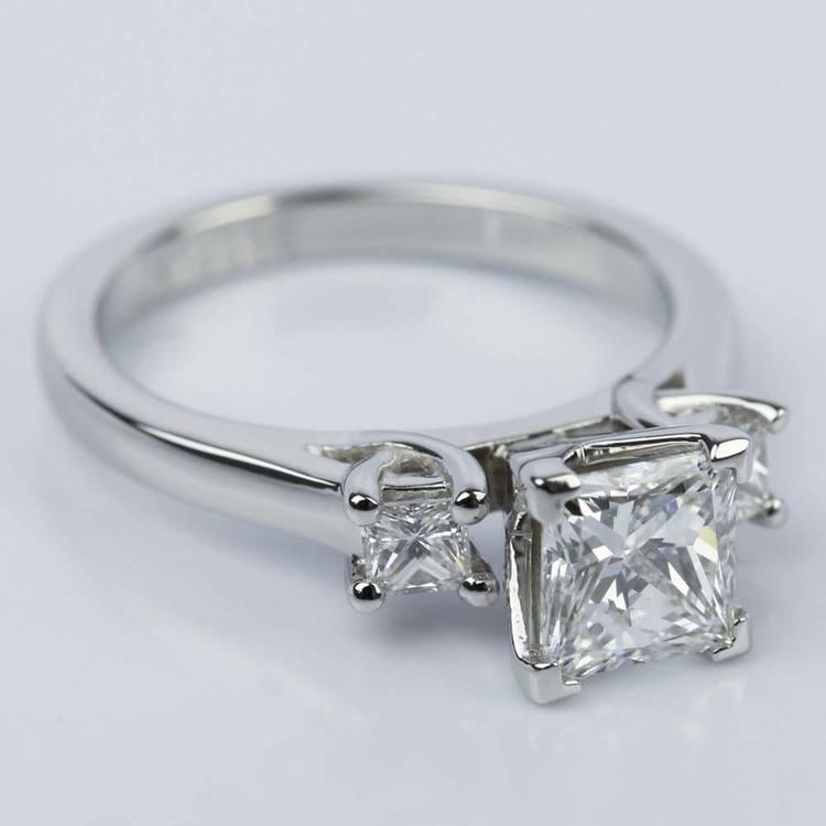 1 Carat Princess Three-Diamond Engagement Ring angle 3