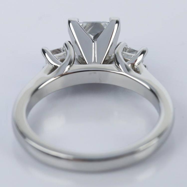 1 Carat Princess Three-Diamond Engagement Ring angle 4