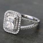 1 Carat Radiant Custom Split-Shank Double Halo Diamond Ring - small angle 2