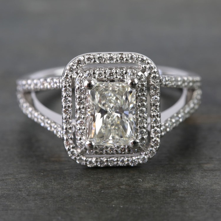 1 Carat Radiant Custom Split-Shank Double Halo Diamond Ring