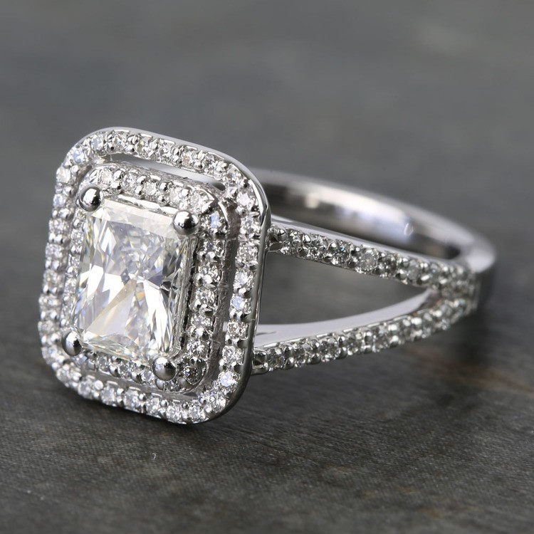 1 Carat Radiant Custom Split-Shank Double Halo Diamond Ring angle 2