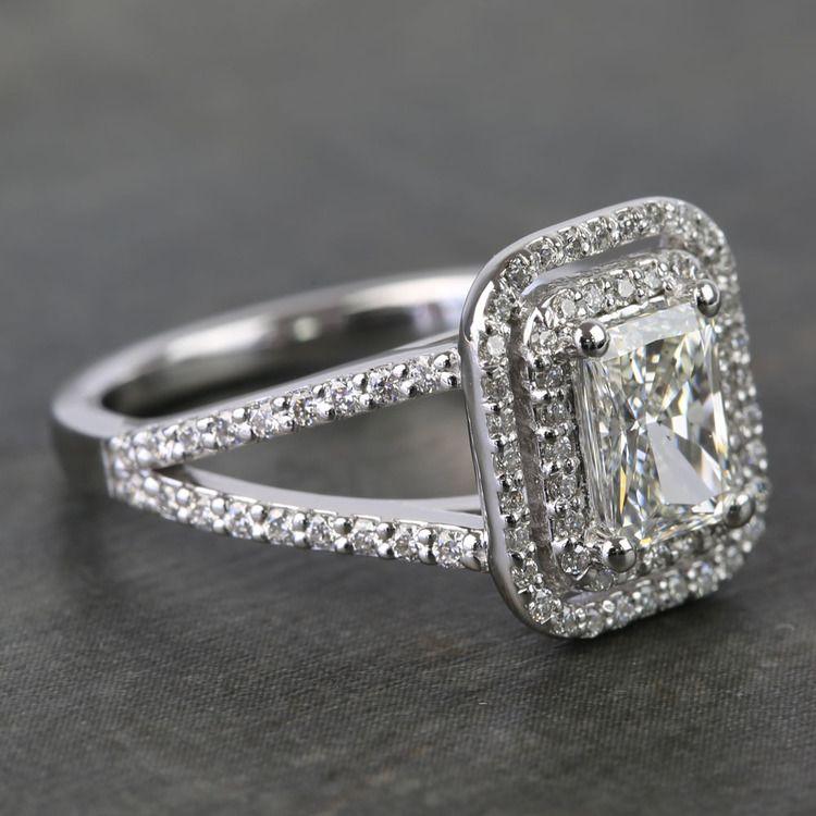 1 Carat Radiant Custom Split-Shank Double Halo Diamond Ring angle 3