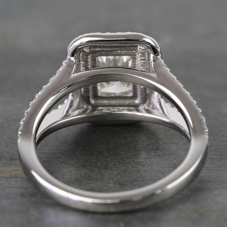 1 Carat Radiant Custom Split-Shank Double Halo Diamond Ring angle 4