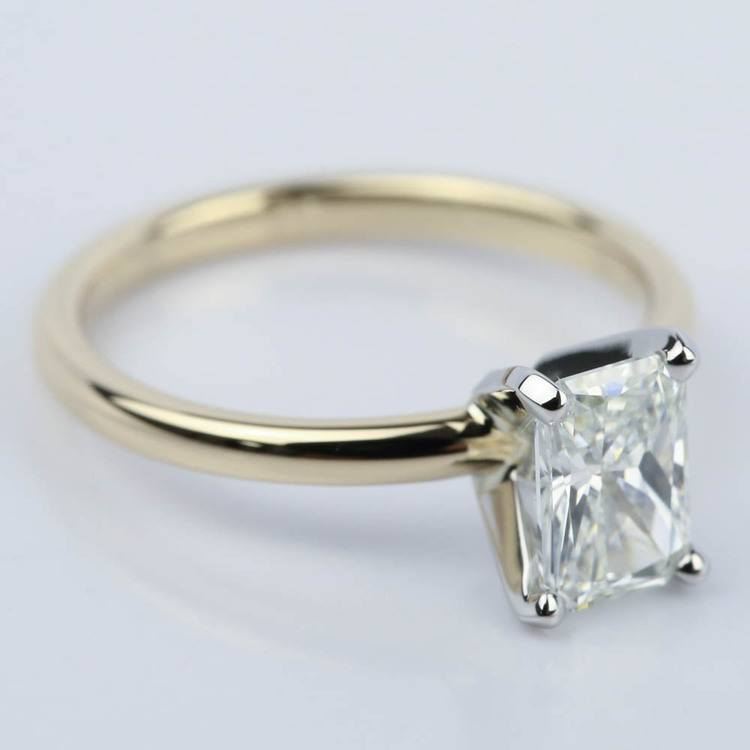 1 Carat Radiant Engagement Ring in Yellow Gold angle 3