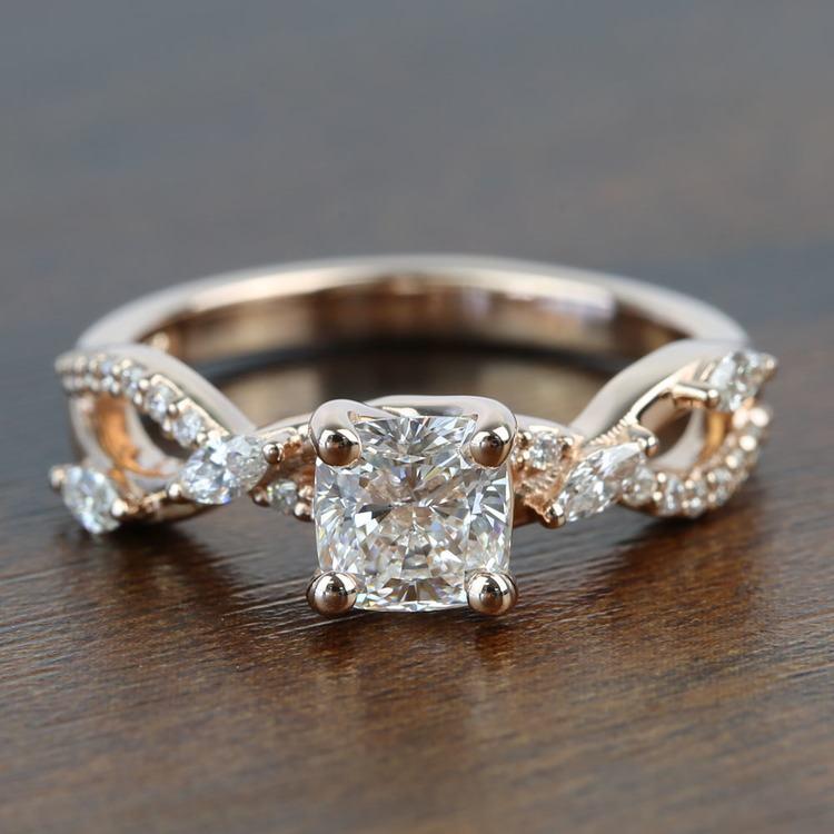 1 Carat Rose Gold Ivy Cushion Diamond Engagement Ring