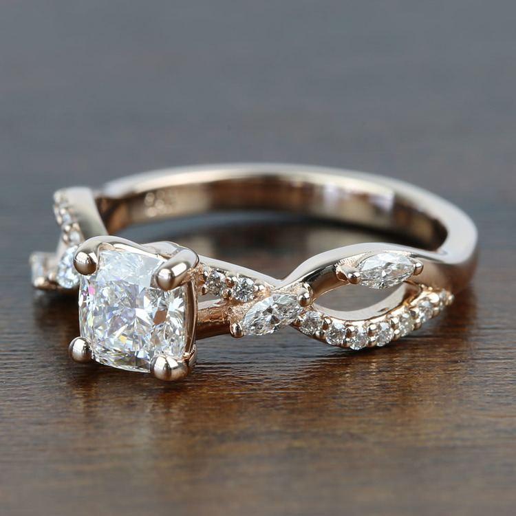 1 Carat Rose Gold Ivy Cushion Diamond Engagement Ring angle 2