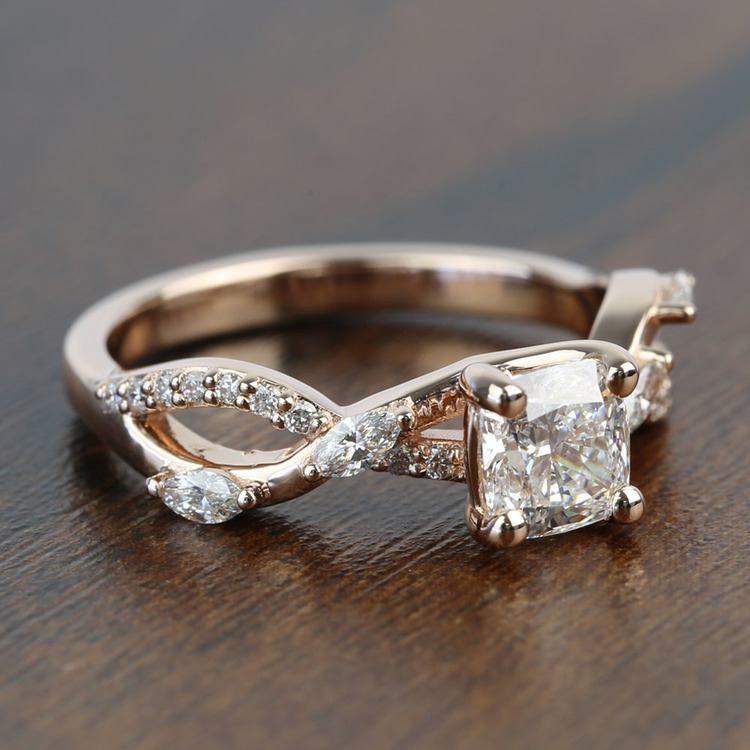 1 Carat Rose Gold Ivy Cushion Diamond Engagement Ring angle 3
