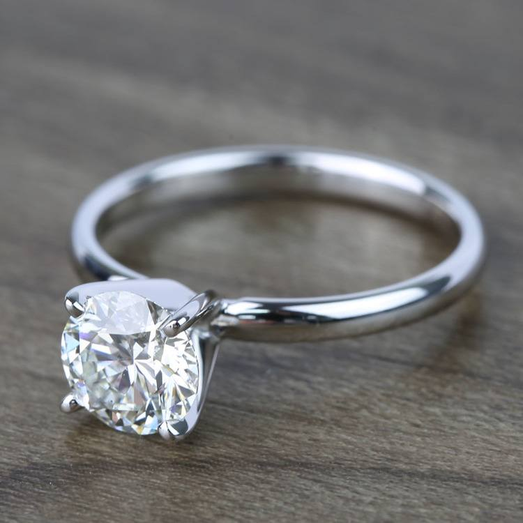 1 Carat Round Classic Solitaire Diamond Ring angle 2