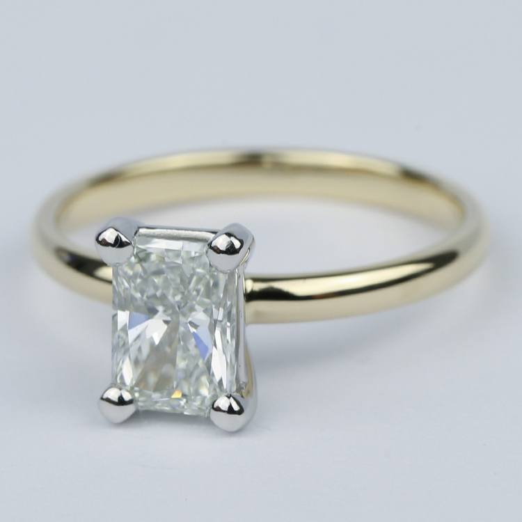 1 Carat Radiant Diamond Engagement Ring in Yellow Gold angle 2