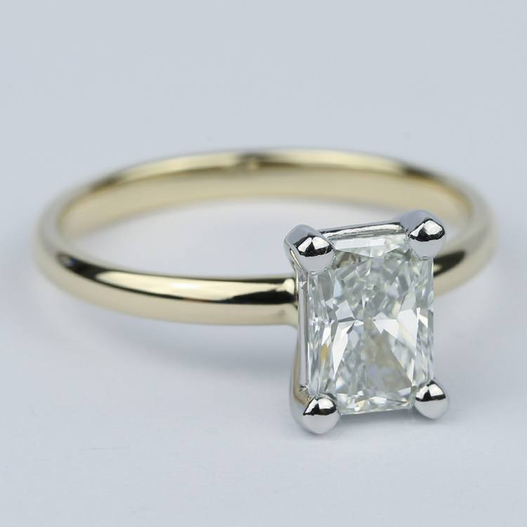 1 Carat Radiant Diamond Engagement Ring in Yellow Gold angle 3