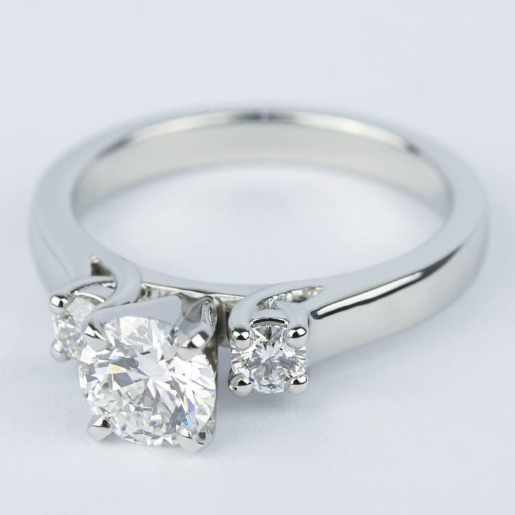 1 Carat Flawless Round Diamond Engagement Ring angle 2