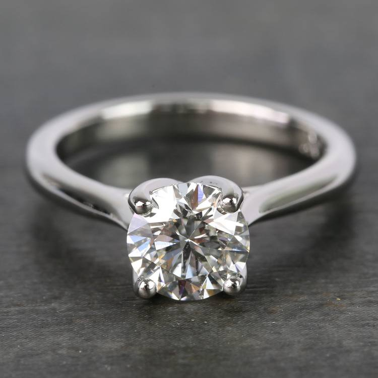 1 Carat Round Lyria Crown Cathedral Solitaire Diamond Engagement Ring