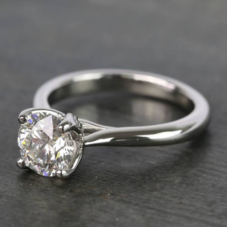 1 Carat Round Lyria Crown Cathedral Solitaire Diamond Engagement Ring angle 2