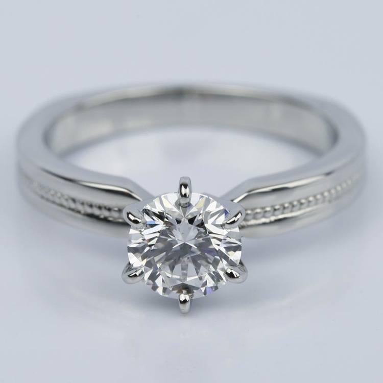 1.00 Carat Round Rocker Milgrain Solitaire Engagement Ring in Platinum