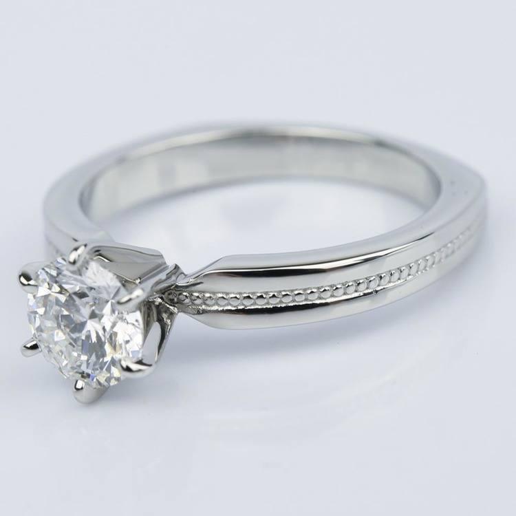 1.00 Carat Round Rocker Milgrain Solitaire Engagement Ring in Platinum angle 2