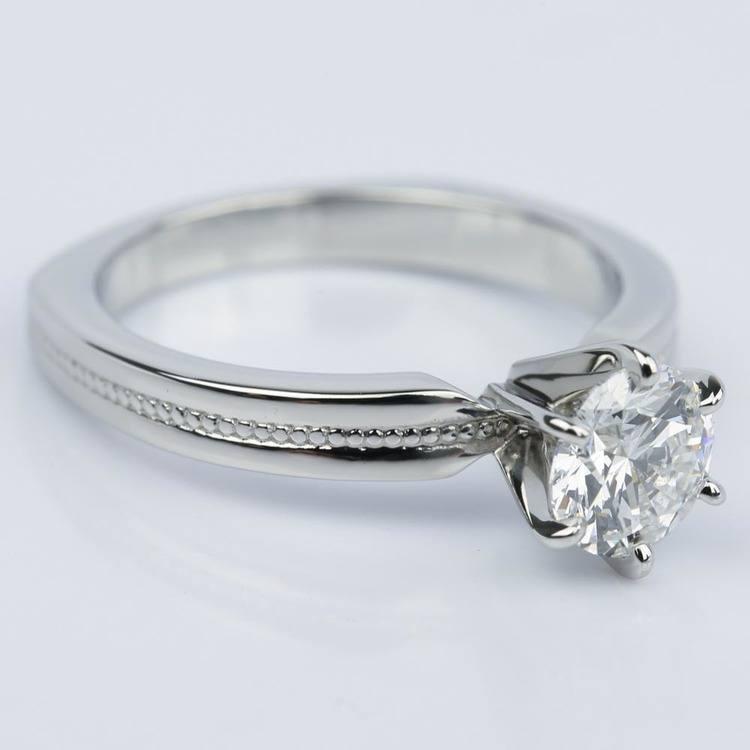 1.00 Carat Round Rocker Milgrain Solitaire Engagement Ring in Platinum angle 3