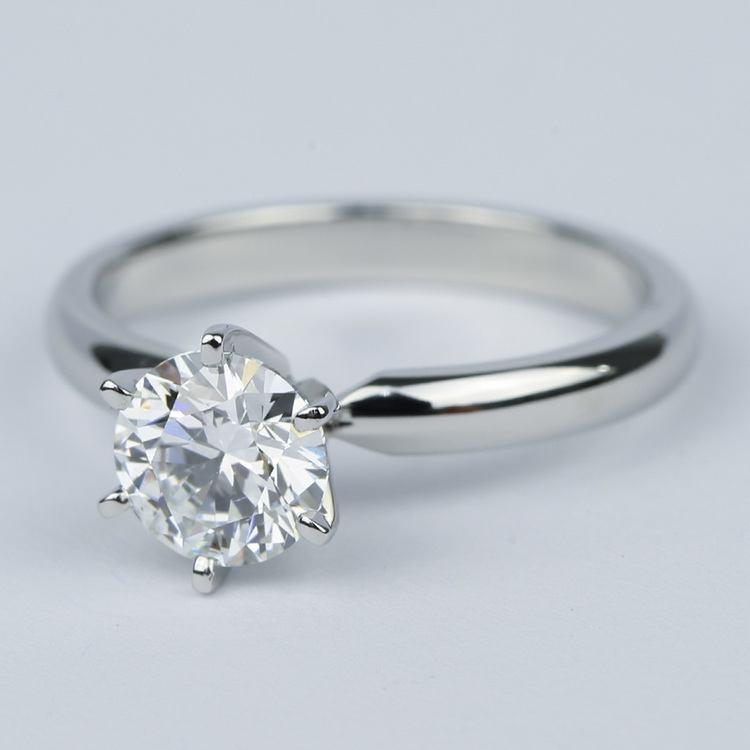 1 Carat Round Diamond Six-Prong Solitaire Engagement Ring angle 2
