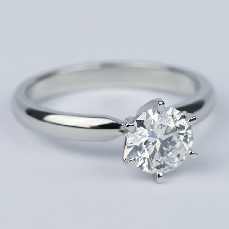 1 Carat Round Diamond Six Prong Solitaire Engagement Ring