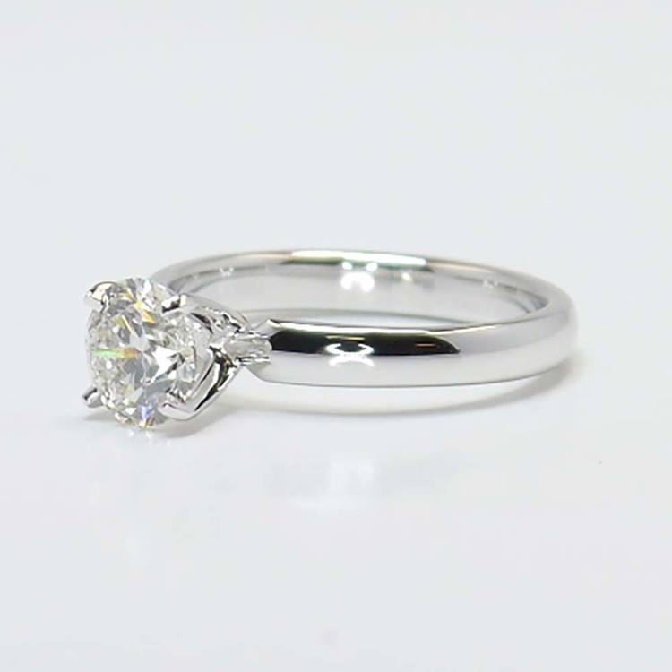1 Carat Round Solitaire Diamond Engagement Ring angle 2