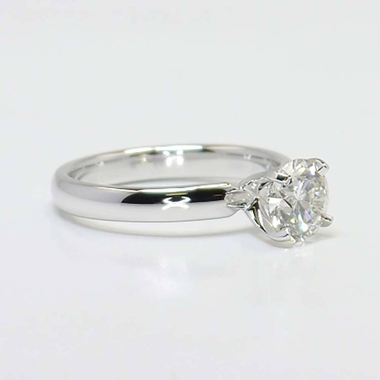 1 Carat Round Solitaire Diamond Engagement Ring angle 3
