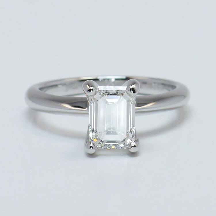 1.23 Carat Knife Edge Solitaire Emerald Diamond Engagement Ring
