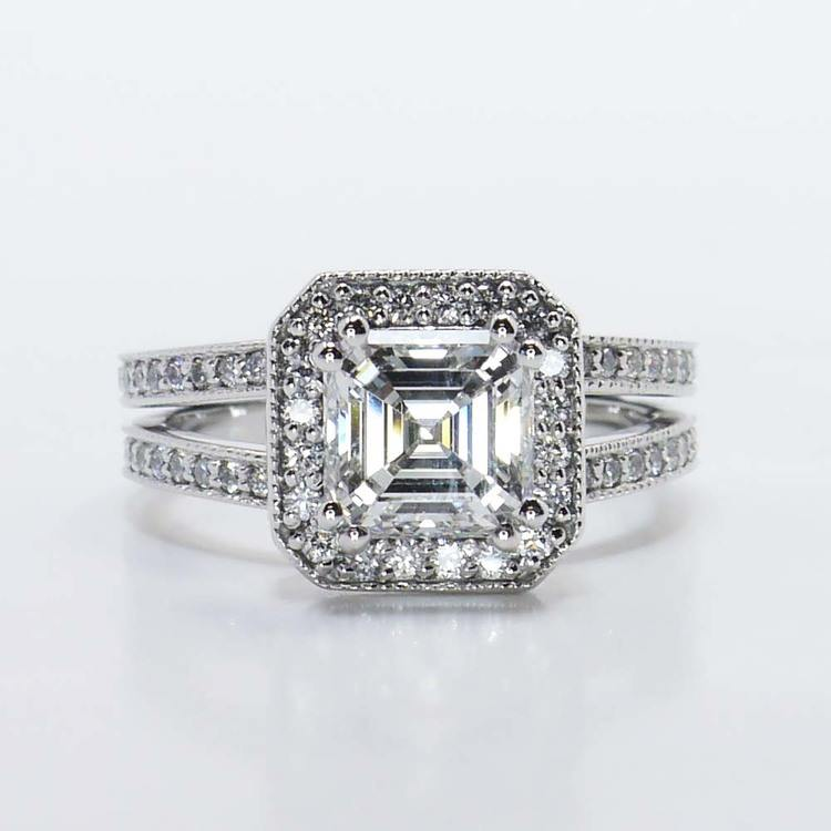 1.32 Carat Halo Split Shank Asscher Diamond Engagement Ring