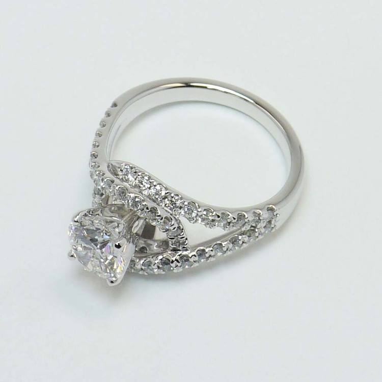 1.33 Carat Round Split Shank Wrap Diamond Engagement Ring angle 2
