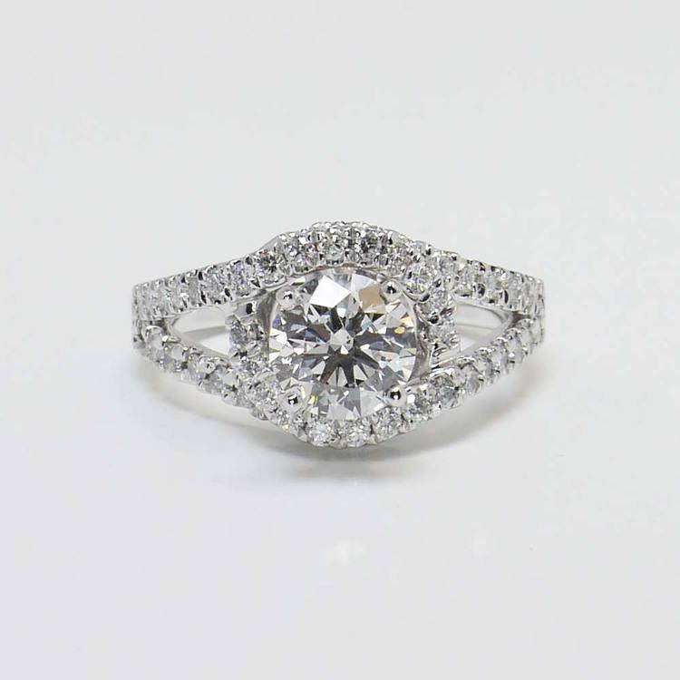1.33 Carat Round Split Shank Wrap Diamond Engagement Ring