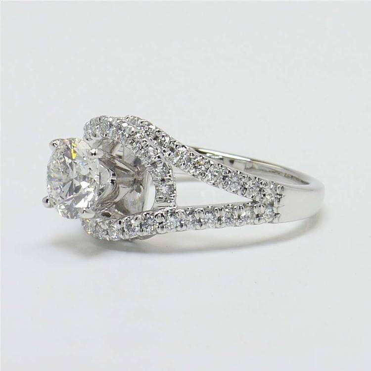 1.33 Carat Round Split Shank Wrap Diamond Engagement Ring angle 3