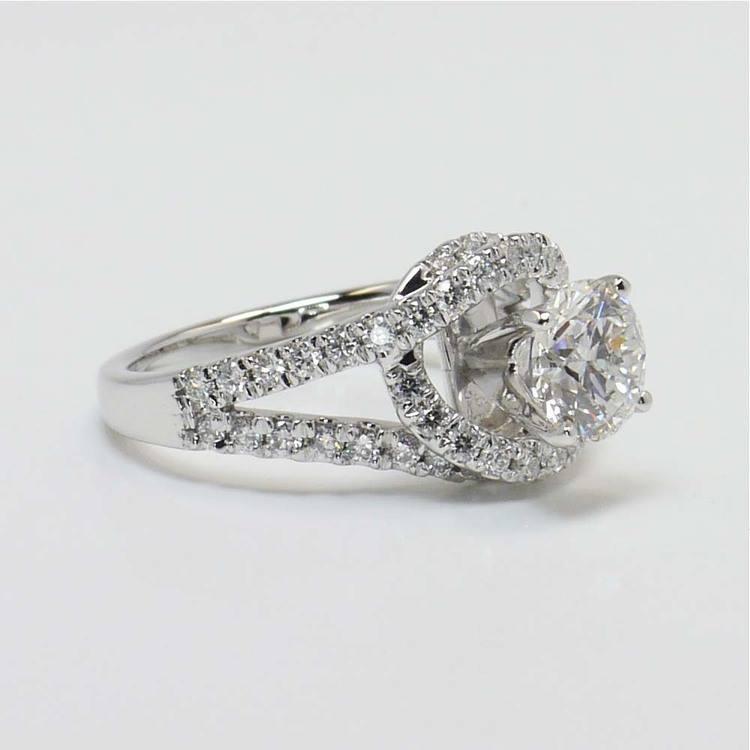 1.33 Carat Round Split Shank Wrap Diamond Engagement Ring angle 4
