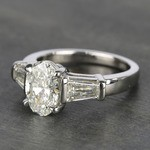 Oval Diamond Ring with Large Tapered Baguette Diamonds - small angle 2