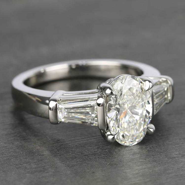 Oval Diamond Ring with Large Tapered Baguette Diamonds angle 3
