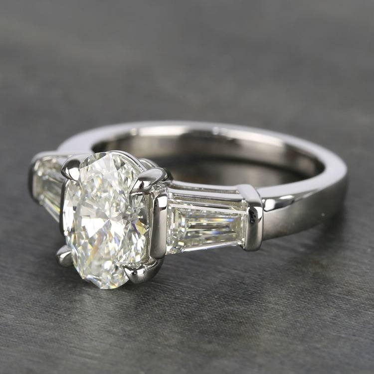 Oval Diamond Ring with Large Tapered Baguette Diamonds angle 2