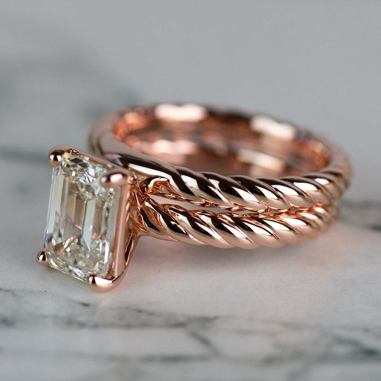 18K Rose Gold Twisted Solitaire Bridal Set with 2.03 Carat Emerald Diamond angle 2