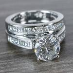 1.90 Carat Round Diamond Ring & Princess Diamond Wedding Band Set - small angle 3