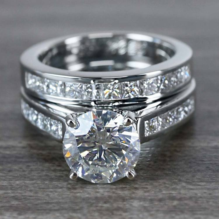 1.90 Carat Round Diamond Ring & Princess Diamond Wedding Band Set