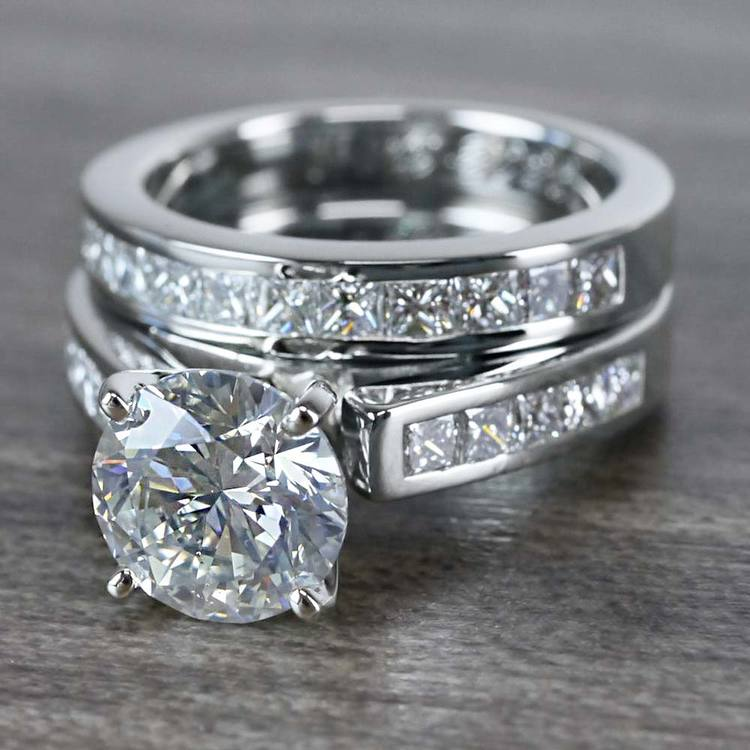 1.90 Carat Round Diamond Ring & Princess Diamond Wedding Band Set angle 2