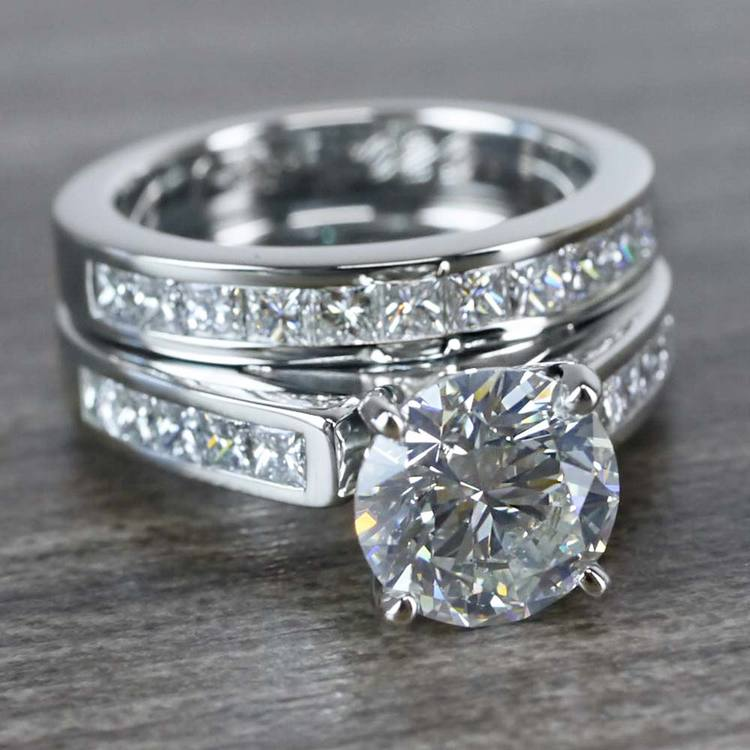 1.90 Carat Round Diamond Ring & Princess Diamond Wedding Band Set angle 3