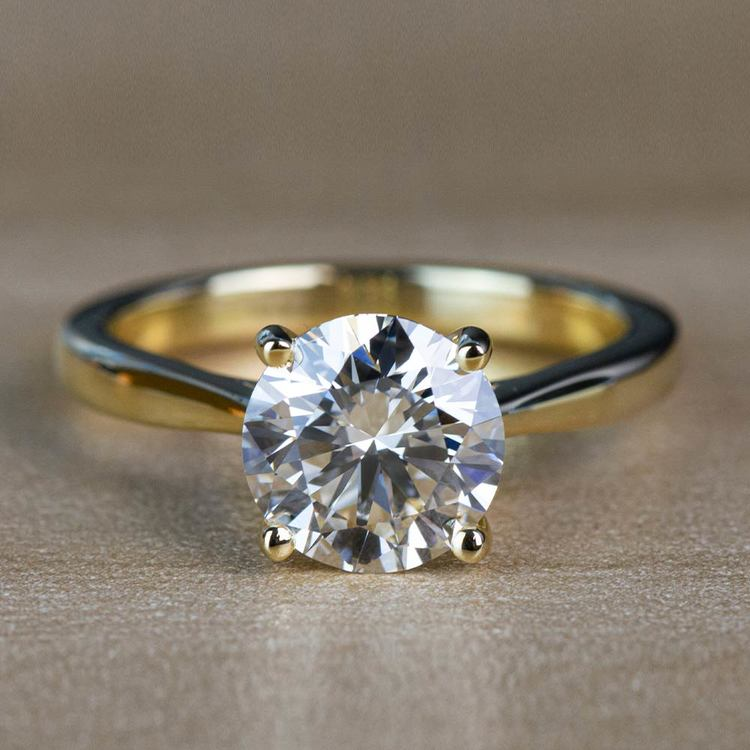 2.01 Carat Round Diamond Taper Solitaire Engagement Ring in Yellow Gold