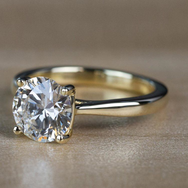 2.01 Carat Round Diamond Taper Solitaire Engagement Ring in Yellow Gold angle 2