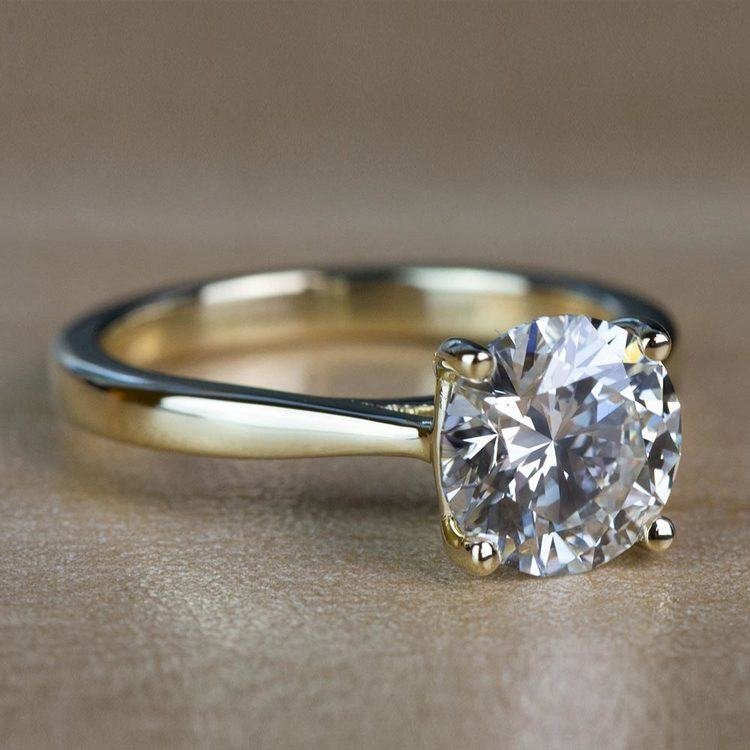 2.01 Carat Round Diamond Taper Solitaire Engagement Ring in Yellow Gold angle 3