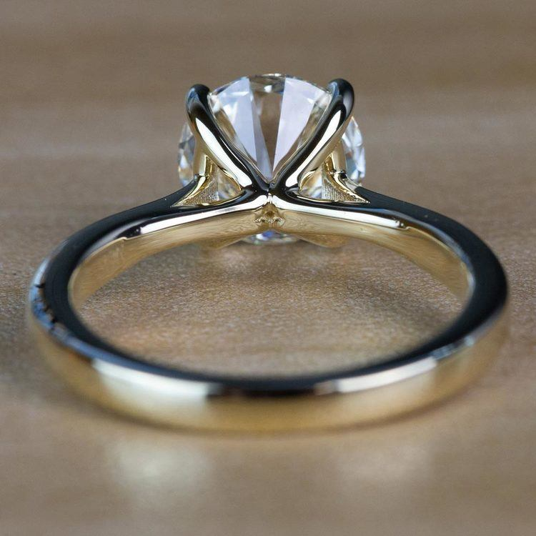2.01 Carat Round Diamond Taper Solitaire Engagement Ring in Yellow Gold angle 4