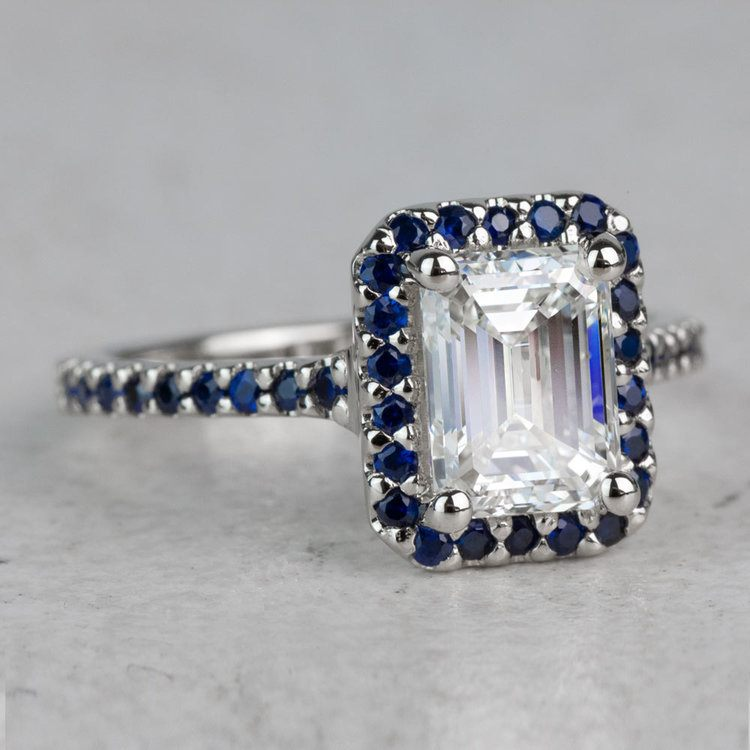 2 Carat Emerald Diamond and Sapphire Gemstone Ring angle 3