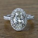 Oval Petite Halo Diamond Engagement Ring (2 Carat) - small