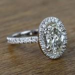 Oval Petite Halo Diamond Engagement Ring (2 Carat) - small angle 3