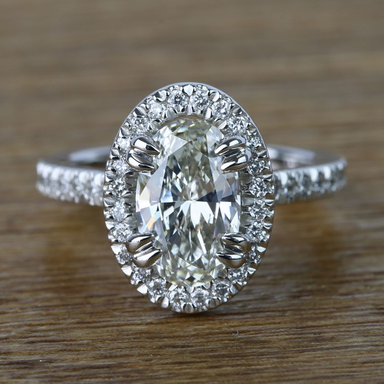 Oval Petite Halo Diamond Engagement Ring 2 Carat